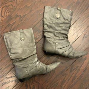 Aldo leather gray mid-calf boots
